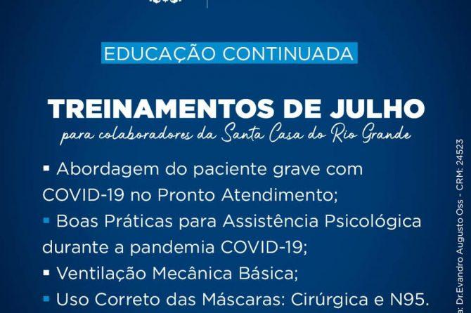 Santa Casa do Rio Grande promove treinamentos on-line sobre o enfrentamento da COVID-19