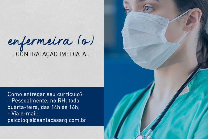 TEMOS VAGA: Enfermeiro (a)