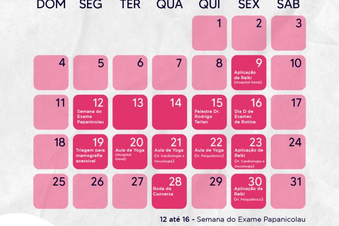 Programação Outubro Rosa para colaboradores e pacientes oncológicos