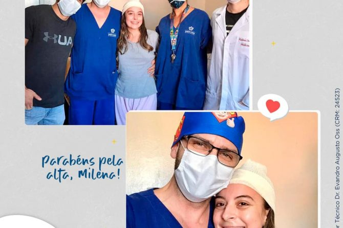 Paciente Milena recebe alta na Santa Casa do Rio Grande