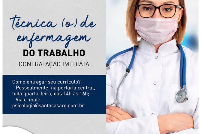 TEMOS VAGA: Técnico (a) de enfermagem do trabalho
