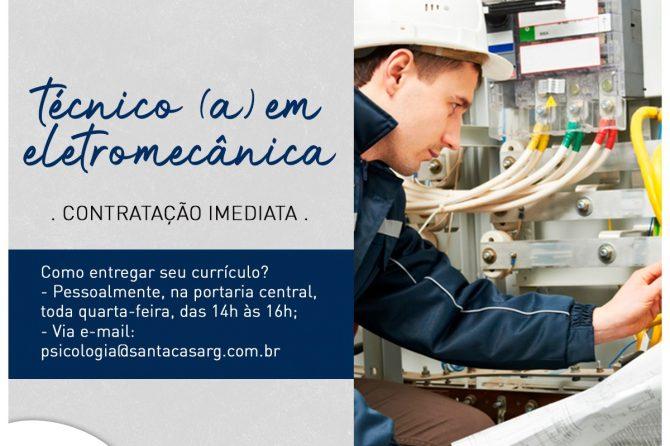 TEMOS VAGA:  Técnico (a) em eletromecânica