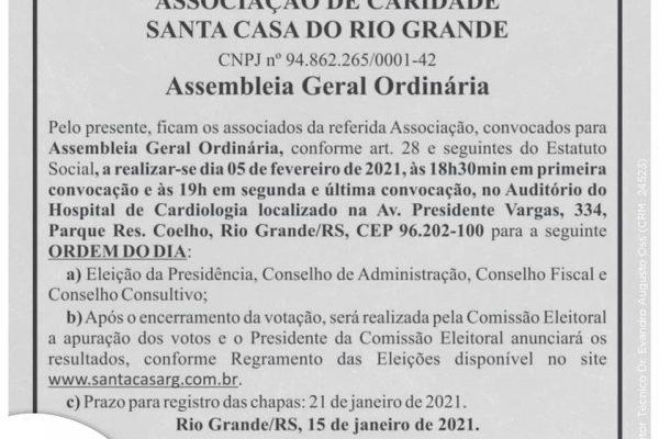 Edital de Convocação – Assembleia Geral Ordinária | 05.02.21 | 18:30h