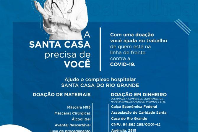 Santa Casa do Rio Grande reativa campanha #JuntosPorUmaCausa e solicita doações