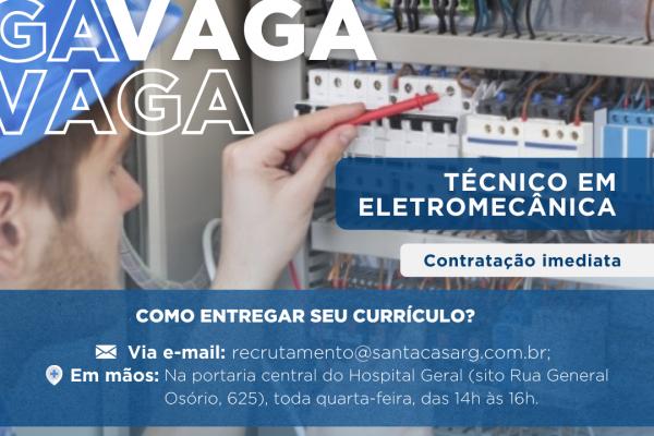 TEMOS VAGA: Técnico em Eletromecânica