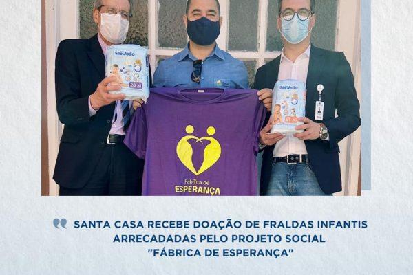 """Santa Casa recebe doação de fraldas infantis arrecadadas pelo projeto social """"Fábrica de Esperança"""""""